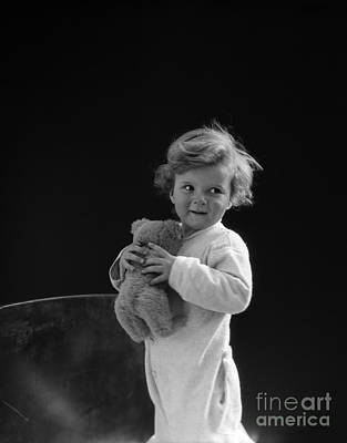 Little Boy With Teddy Bear, C.1930s Print by H. Armstrong Roberts/ClassicStock