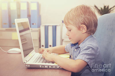 Photograph - Little Boy Working On The Laptop by Anna Om