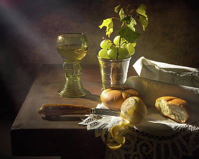 Photograph - Little Breakfast With Bread - Grapes -peeled Lemon by Levin Rodriguez