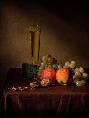 Photograph - Little Breakfast With Flute Gloass Apples And Grapes by Levin Rodriguez