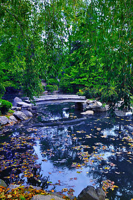 Koi Digital Art - Little Bridge - Japanese Garden by Bill Cannon
