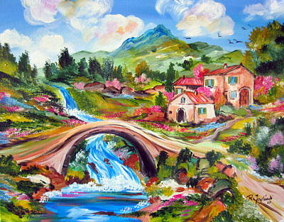 Painting - Little Bridge And Country Farm by Roberto Gagliardi