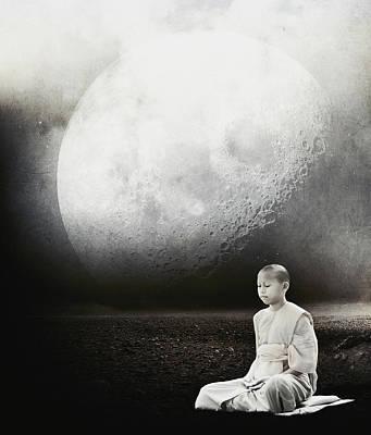 Zen Digital Art - Little Buddha by Jacky Gerritsen