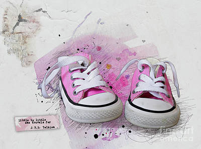 Sneakers Mixed Media - Little By Little by Gillian Singleton