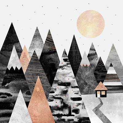 Landscape Digital Art - Little Cabin by Elisabeth Fredriksson