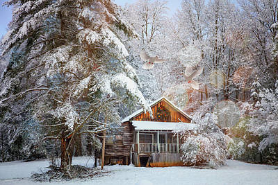 Photograph - Little Cabin In The Snow At Christmas by Debra and Dave Vanderlaan