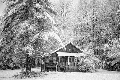 Photograph - Little Cabin In The Snow Black And White by Debra and Dave Vanderlaan