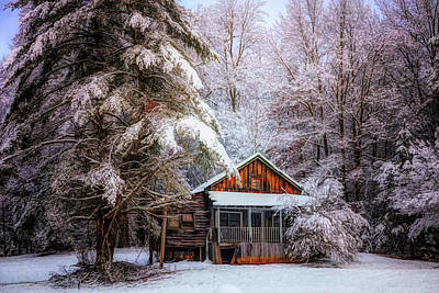 Abandoned Cabins Smoky Mountains Wall Art - Photograph - Little Cabin In The Snow by Debra and Dave Vanderlaan