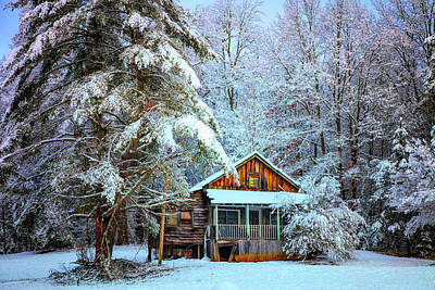 Abandoned Cabins Smoky Mountains Wall Art - Photograph - Little Cabin In The Snow Evening Colors by Debra and Dave Vanderlaan
