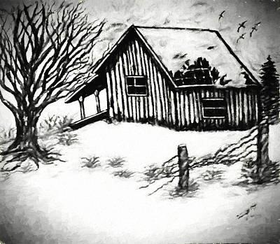Old Cabins Mixed Media - Little Cabin In The Wood Van Gogh Style by Debra Lynch
