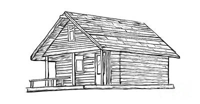 Log Cabin Drawing - Little Cabin In The Woods by Edward Fielding