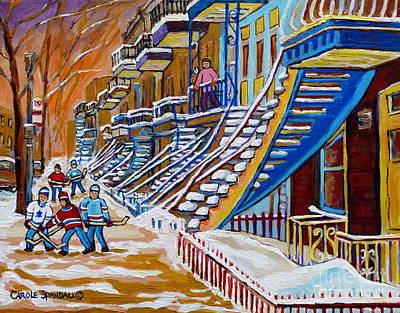 Of Verdun Montreal Winter Street Scenes Montreal Art Carole Painting - Little Canadian Boys Play Street Hockey Near Winding Yellow Staircase Montreal Winter Scene Art by Carole Spandau
