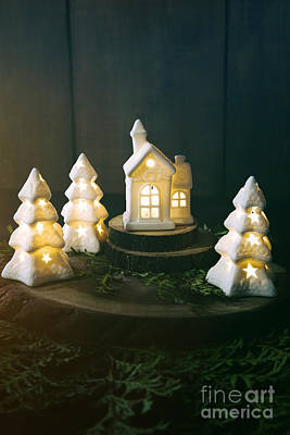 Photograph - Little Ceramic Houses With Lights And Cedar Branches by Sandra Cunningham