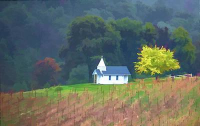 Little Chapel In The Vineyard Art Print by Floyd Hopper