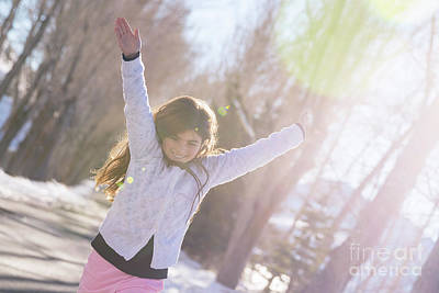 Photograph - Little Cheerful Girl Paying Outdoors by Anna Om