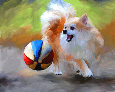 Dog Playing Ball Painting - Little Cheerleader by Jai Johnson