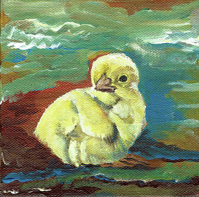 Painting - Little Chick - Baby Chicken by Jan Dappen