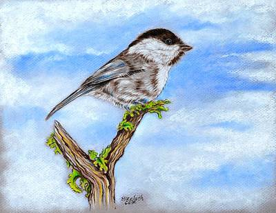 Trees In Snow Mixed Media - Little Chickadee by Elizabeth Cox