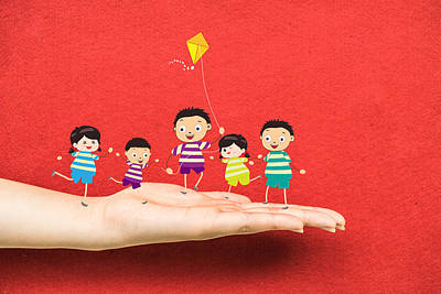 Little Children Kites On A Hand Art Print by Dai Trinh Huu