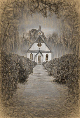 Sepia Photograph - Little Church In The Country by Marcia Colelli