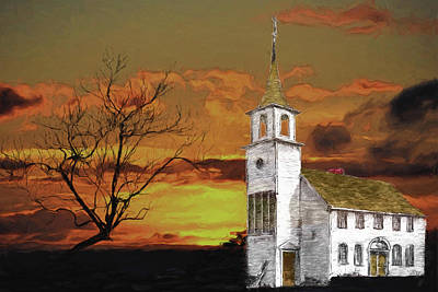 Digital Art - Little Church On The Prairie by John Haldane
