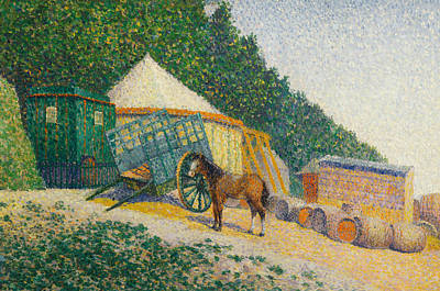 Divisionist Painting - Little Circus Camp by Albert Dubois-Pillet