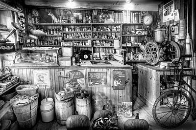 Photograph - Little Country Grocery In Black And White by Debra and Dave Vanderlaan