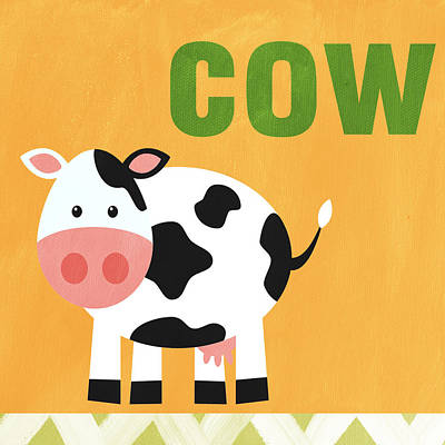 Cow Wall Art - Painting - Little Cow by Linda Woods