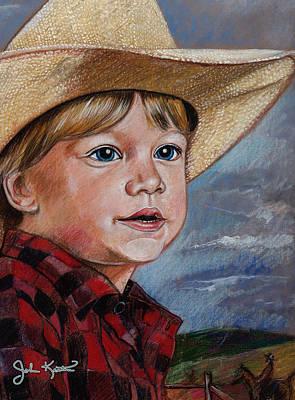 Drawing - Little Cowboy by John Keaton