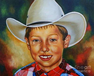 Missing Tooth Painting - Little Cowboy by Theresa Cangelosi