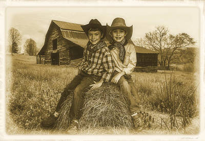 Little Cabin Photograph - Little Cowboys by Debra and Dave Vanderlaan