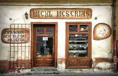 Drawing - Little Craftsman' Shop - Micul Meserias by Daliana Pacuraru