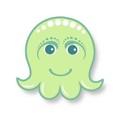 Little Cute Green Octopus Art Print