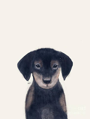 Painting - Little Dachshund by Bleu Bri
