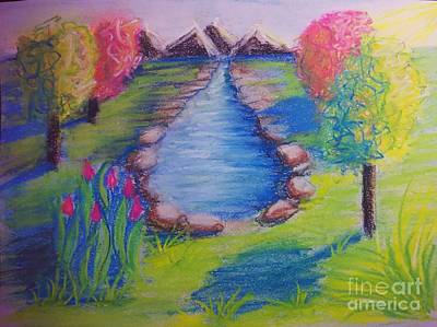 Mixed Media - Little Dam Impressionism In Chalk Pastel By Delynn Addams Designs by Delynn Addams