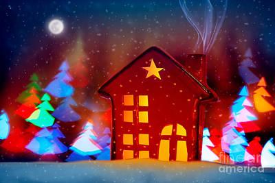Photograph - Little Decorative Christmas House by Anna Om