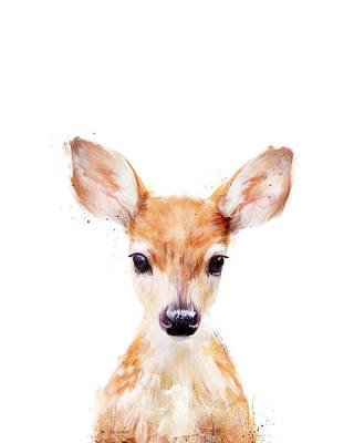 Cute Fawn Painting - Little Deer by Amy Hamilton