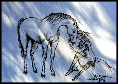 Drawing - Little Deer And Wind Spirit by Jean Clarke