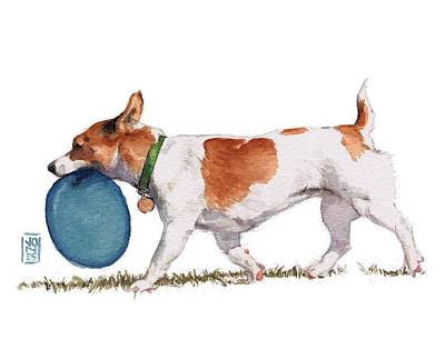 Watercolor Pet Portraits Painting - Little Dog With Blue Frisbee by Debra Jones