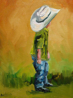 Diane Whitehead Art Original featuring the painting Little Dude Big Hat by Diane Whitehead