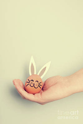 Photograph - Little Easter Bunny Made From An Egg by Michal Bednarek