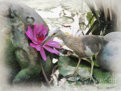Art Print featuring the painting Little Egret by Sergey Lukashin
