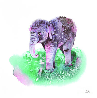 Painting - Little Elephant Baby by Zaira Dzhaubaeva