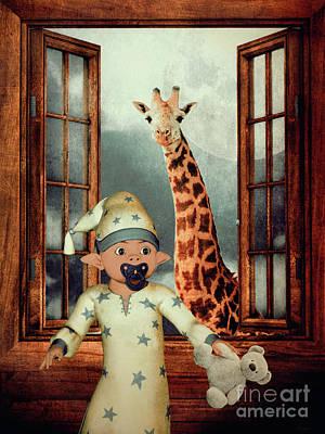 Little Boy Mixed Media - Little Elf by KaFra Art