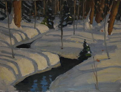 Reflections Of Shadows Painting - Little Evergreen by Len Stomski
