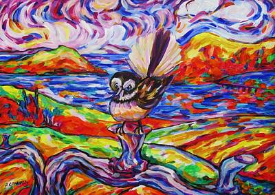 Painting - Little Fantail At Belly Up Vineyard by Dianne  Connolly