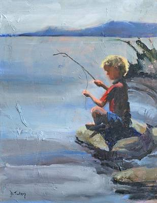 Painting - Little Fisherman by Donna Tuten
