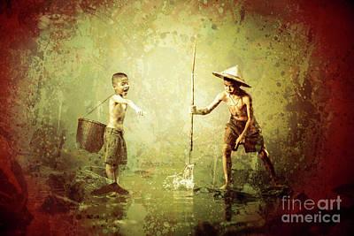 Little Fishermen Art Print