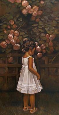 Little People Painting - Little Flower by Curtis James