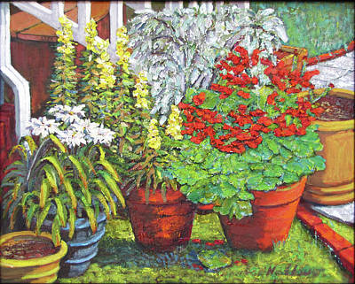 Painting - Little Flower Pot Garden by Thomas Michael Meddaugh